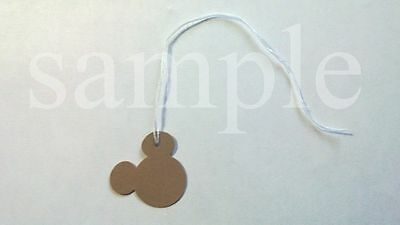 "50 Jewelry Gift Hang Mickey Mouse Tags with White String 1"" x 1"" - Kraft"
