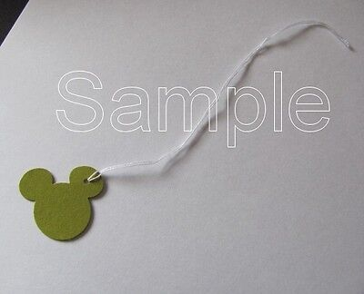 "50 Jewelry Gift Hang Mickey Mouse Tags with White String 1"" x 1"" - Olive"