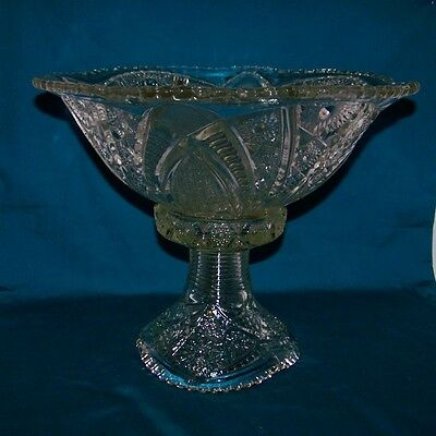 McKee Early American Glass The Concord Clear Punch Bowl With Punch Bowl Stand