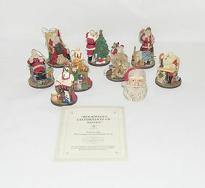 1993 Norman Rockwell Celebration of Santa 9 Christmas Tree Ornaments