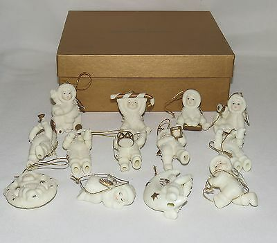 New England Society 13 Pc Angel Babies Christmas Tree Ornaments 22 Kt Gold RARE
