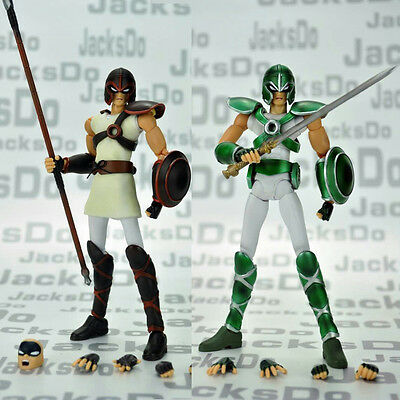 Jacskdos Sanctuary Solider Guards Myth Cloth Saint Seiya Figure Set (绿和棕)