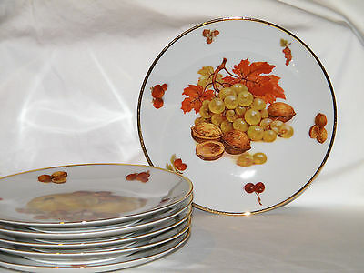 "Vintage Set 6 MITTERTEICH ""DEBRA"" PORCELAIN 8"" FRUIT PLATES Bavaria Germany EX!!"