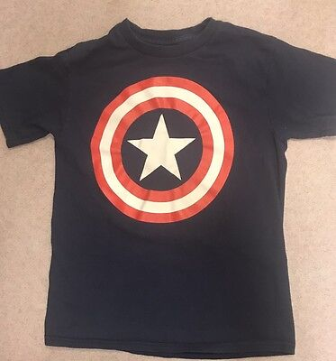 Boys Captain America T-Shirt Size Small (6/7/8) By Marvel Americana