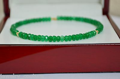 NATURAL Green EMERALD Faceted Bangle Bracelet 14K Yellow Gold Handcrafted