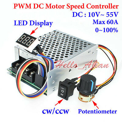 DC 10-55V 60A PWM DC Motor Speed Controller CW CCW Reversible Switch LED Display