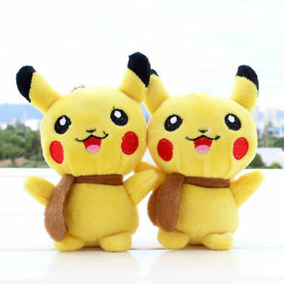 1pc Plush Lovely POKEMON GO Keychain Pendant cellphone strap Pikachu Figures