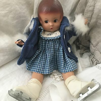 Patsy Ice Skater Doll Blue Fur Coat Dress Panties Ice Skates