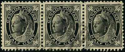 Canada #66 used VF strip of 3 1897 Queen Victoria 1/2c black Maple Leaf CV$36.00