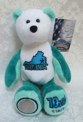 Limited Treasures State Quarters Coin Teddy Bear Virginia #10