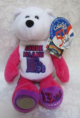 Limited Treasures State Quarters Coin Teddy Bear Rhode Island #13