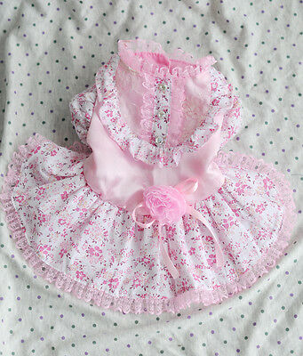 Lace Flower Princess Dog Dress Clothing For Dogs Pet Puppy Dog Clothes Pink S