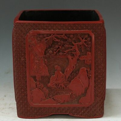Chinese Exquisite Hand-carved Character landscape carving Lacquerware Brush Pot