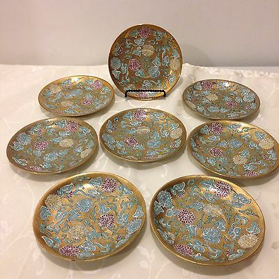 8 YT Hand Painted Decorated Japanese Gold Gilded Saucer Plates Made In Japan