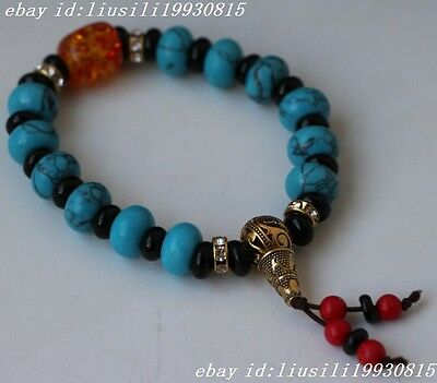 Collectibles handwork Turquoise&Red Coral toyed prayer Bead Bracelet NO477