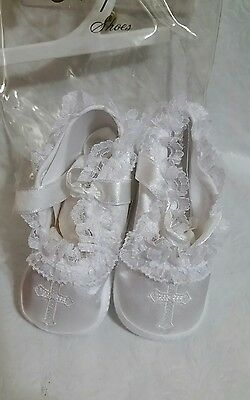 NEW Keepsake Shoes White Christening Baptism Dedication Infant Booties Small 0-1