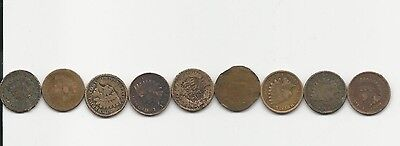 Lot of Nine Indianhead Cents