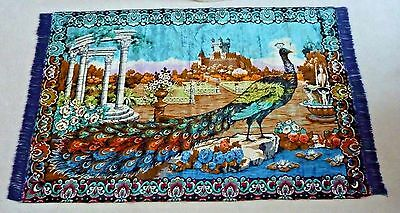 Antique  Tapestry  Rug ~~~Large Peacock ~~~Vibrant Colors!