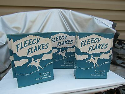 Antique Vintage Fleecy Flakes Laundry Soap Detergent Full Unused Old Advertising