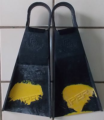 NEW PACIFIC SOUTH SWELL OLD SCHOOL CLASSIC VIPER FINS BLACK YELLOW size L 9-11