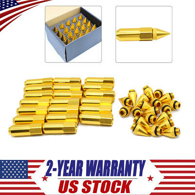 Gold 20PCS M12X1.5 Cap Spiked Extended Tuner Aluminum Wheels Rims Lug Nuts 60mm