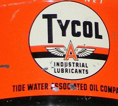 "Tycol Can Tide Water Asociation Oil  Vtg Lubricants 1 Lb Can  Flying ""a""  Tydol"
