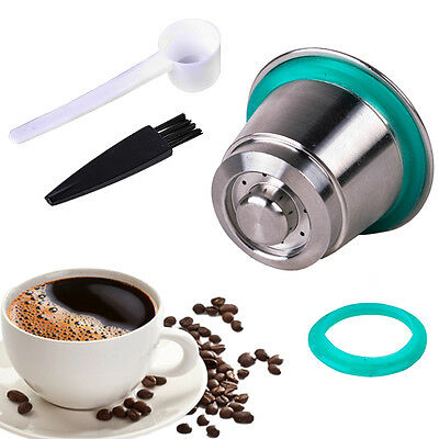 Stainless Steel Metal Reusable Refillable Capsule Cup + Spoon Fits For Nespresso