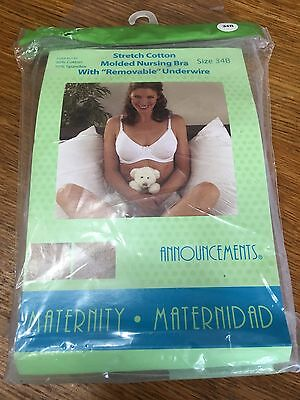 Announcements Stretch Cotton White Nursing Bra Removable Underwire 34B New