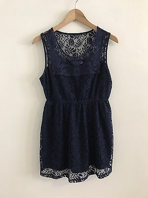 Motherhood Maternity Lace Top Navy Sleeveless Blouse Women's Size S Preowned