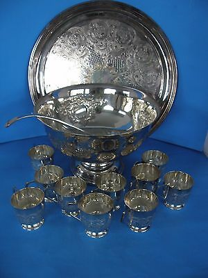 Vintage Punch Bowl Set Silver Plated With 10 Matching Cups Ladle And Tray