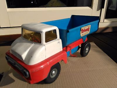 Tri-Ang Large Tin & Die Cast- Lights- Lorry Tip Dump Truck Rare Size As Boomaroo