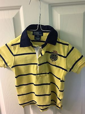Baby Boy's Ralph Lauren short sleeve yellow and navy striped polo size 18 months
