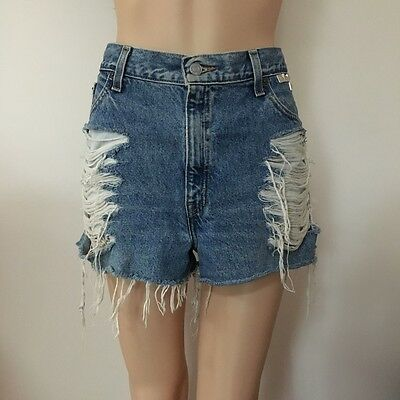 Vintage Levi's Distressed Frayed Studded Denim Shorts Boho Festival 32 Large L