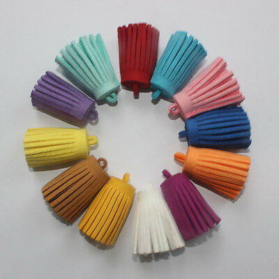 10 Leather Tassels Boho Keyring/Jewelry /Bags Making Charm Accessories DIY