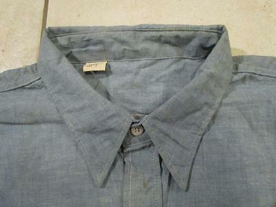 VINTAGE NOS DESTROYED 1950's - 60's CHAMBRAY FARM WORK SHIRT 19