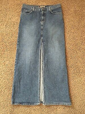 Nine Planet Skirt Sz 11 Long Maxi Jean Stretch Skirt High Split