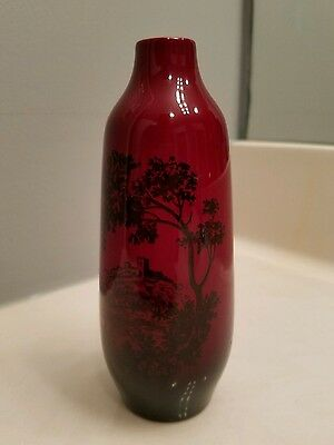 "ROYAL DOULTON Flambe Woodcut VASE Pattern 1614  6"" tall x 2"" wide VINTAGE Mint"