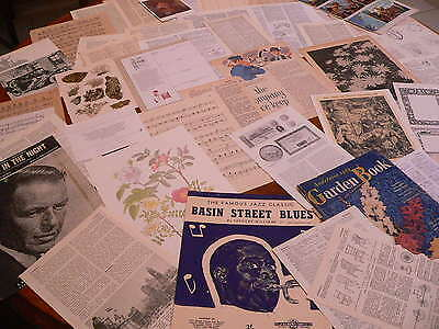 50 Vintage papers,page dictionary music paper, altered art junk journal  PK 114