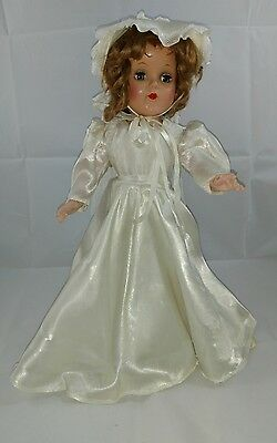 """Vintage hard plastic 15"""" unmarked doll in wedding gown"""