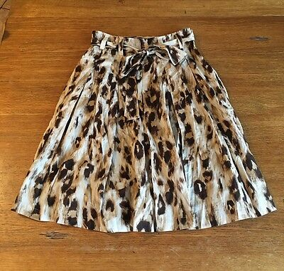 Sunny Leigh Women's Sz 6 Lined Leopard Cheetah Cougar Pleated Skirt