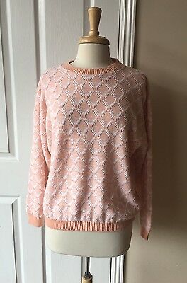 Vintage Women's Sweater Sz M/L Soft Acrylic Peach And White Long Sleeve USA