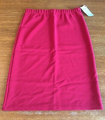 Women's Solid Red Sz XL A Line Stretch Skirt Modest Knee Length New NWT