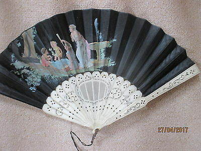 French    Carved Brisse Fan Steel Printed C 1820  Tiny Tear Otherwise V Good