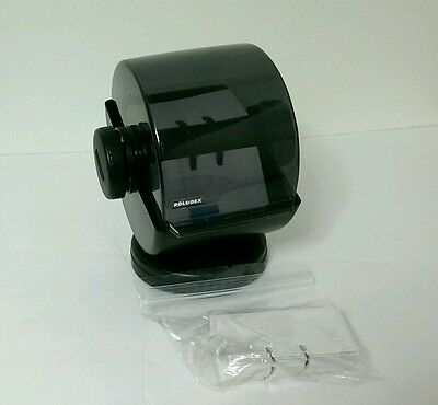 Black Swivel Rolodex Model NSW-24C with Alphabetical Dividers and Unused Cards