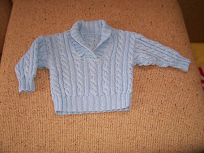 New Baby Hand Knitted Cable Jumper With Collar Blue 9 -12 Months Approzx