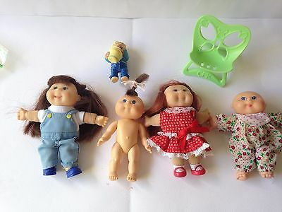 Cabbage Patch Kids CPK. (mini)  x 5 + Chair. Good Used Condition.