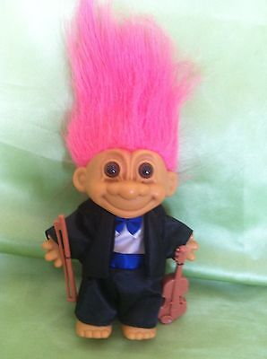 Troll Doll Vintage Russ Musician Violinist Toy Collectable Gift
