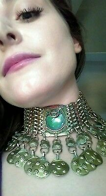 Antique Chainmail Goddess Emerald Choker Necklace with Turquoise & Coral