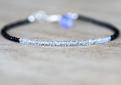 Diamond Look Natural Black Spinel & Ice Quartz Bracelet Solid Sterling Silver