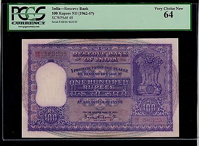 India  100  Rupees  ( 1962-67 )  Ab/26  Pick # 45  Unc  Banknote.
